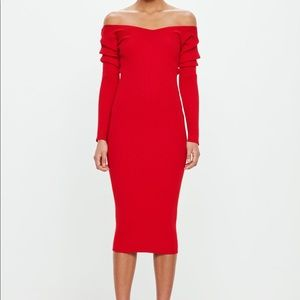Peace + Love Red off shoulder midi dress